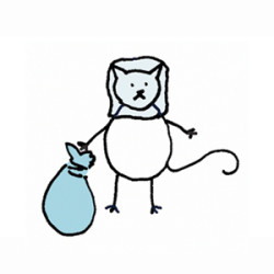 White cat with stocking over head and a bag of stolen goods. Illustration by Lynn Chang.