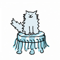 Grey fluffy cat sitting on a striped tuffet. Illustration by Lynn Chang.