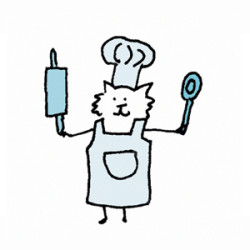 Fluffy white cat in an apron, a chef hat, a rolling pin and a wooden spoon. Illustration by Lynn Chang.