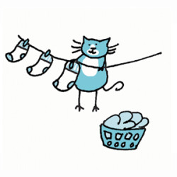 Tuxedo cat hanging socks on a laundry line with a basket of wet laundry at his paws. Illustration by Lynn Chang.