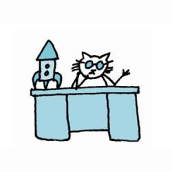 White cat with sunglasses behind desk with a rocket on desktop. Illustration by Lynn Chang.