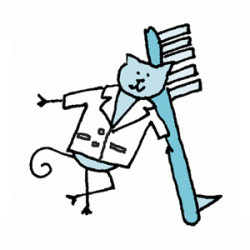 Grey cat in a white smock leaning against a large toothbrush. Illustration by Lynn Chang.