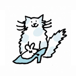 Spotted fluffy cat with mouse in shoe. Illustration by Lynn Chang.