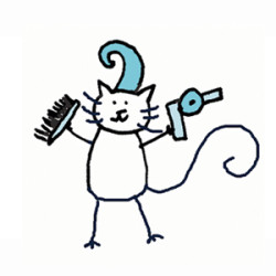 White cat with a swoopy hair do with a comb and blow dryer. Illustration by Lynn Chang.