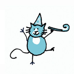 Tuxedo cat with a polka dot party hat and a party horn. Illustration by Lynn Chang.