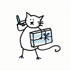 White cat with a cell phone and a wrapped gift package walking. Illustration by Lynn Chang.