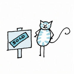 Striped Cat standing with paws on his hips next to a SOLD sign. Illustration by Lynn Chang.