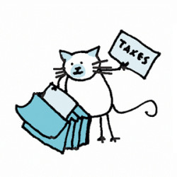 Siamese cat going through a file folder and holding a paper labelled taxes. Illustration by Lynn Chang.