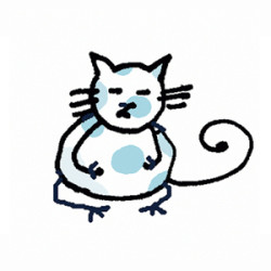 Calico Cat in a Yoga position. Illustrated by Lynn Chang.