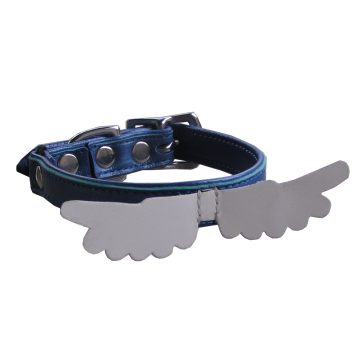 Kitty Planet Angel Wing leather safety cat collar in Blue Suede Shoes (blue)