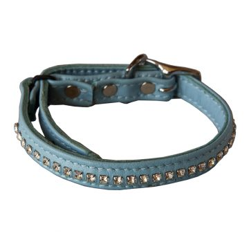KItty Planet Crystal Rhinestone Leather Safety Cat Collar in Night to Remember (baby blue)