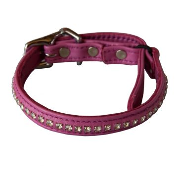 KItty Planet Crystal Rhinestone Leather Safety Cat Collar in Pretty in Pink (pink)