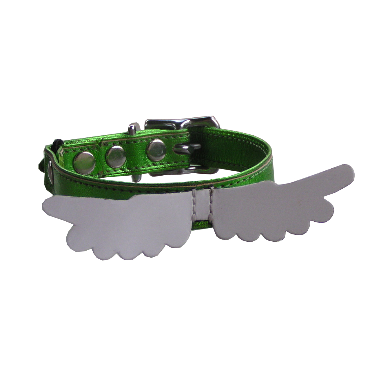 Kitty Planet Angel Wing leather safety cat collar in Love Me Tender (green)