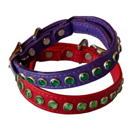 KItty Planet Metro Rhinestone Leather Safety Cat Collar in red and purple