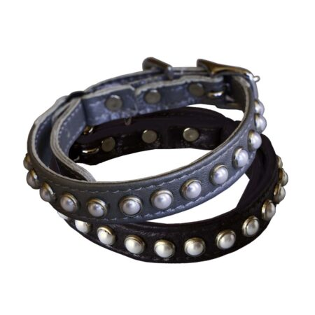 KItty Planet South Sea Pearl Leather Safety Cat Collar in silver and black