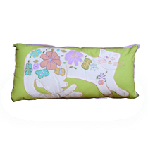 Kitty Planet embroidered pillow green