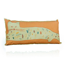 Kitty Planet embroidered pillow