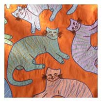 Kitty Planet embroidered pillow detail