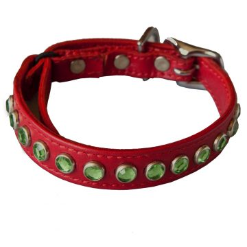 KItty Planet Metro Rhinestone Leather Safety Cat Collar in Cosmopolitan (red)