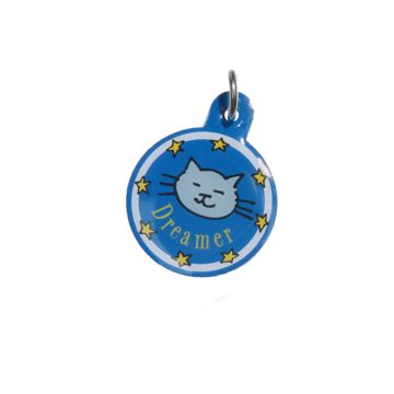 Kitty Planet Engraved Enamelled Cat Tag Dreamer