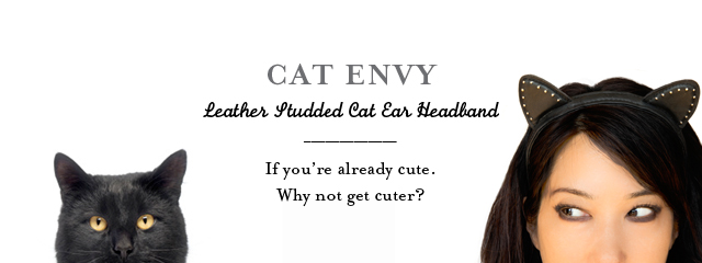Kitty Planet | Studded Leather Cat Ear Head Band