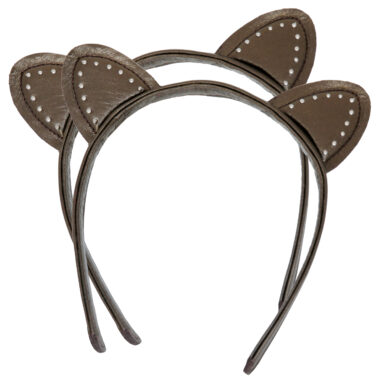 Cute studded leather Kitty Ears studded, handmade headband in Genuine Leather.