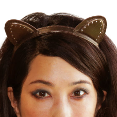 Cute Kitty Ears studded, handmade headband in Genuine Black Leather. For boys and girls of all ages!